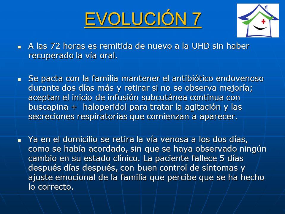 EVOLUCIÓN 7 A las 72 horas es remitida de nuevo a la UHD sin haber recuperado la vía oral. A las 72 horas es remitida de nuevo a la UHD sin haber recu