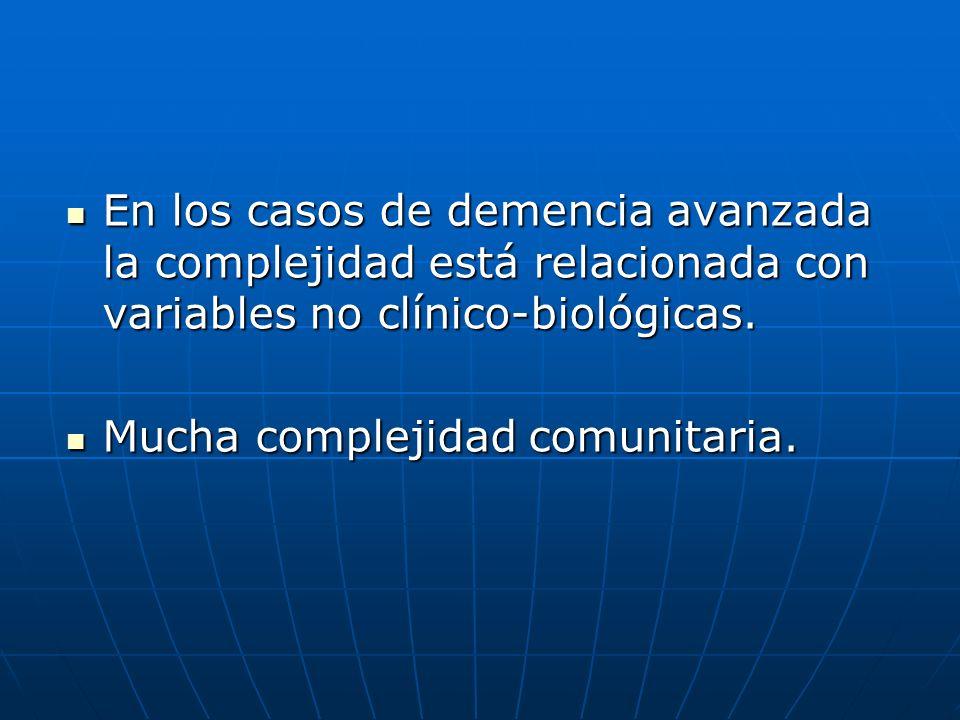 En los casos de demencia avanzada la complejidad está relacionada con variables no clínico-biológicas. En los casos de demencia avanzada la complejida