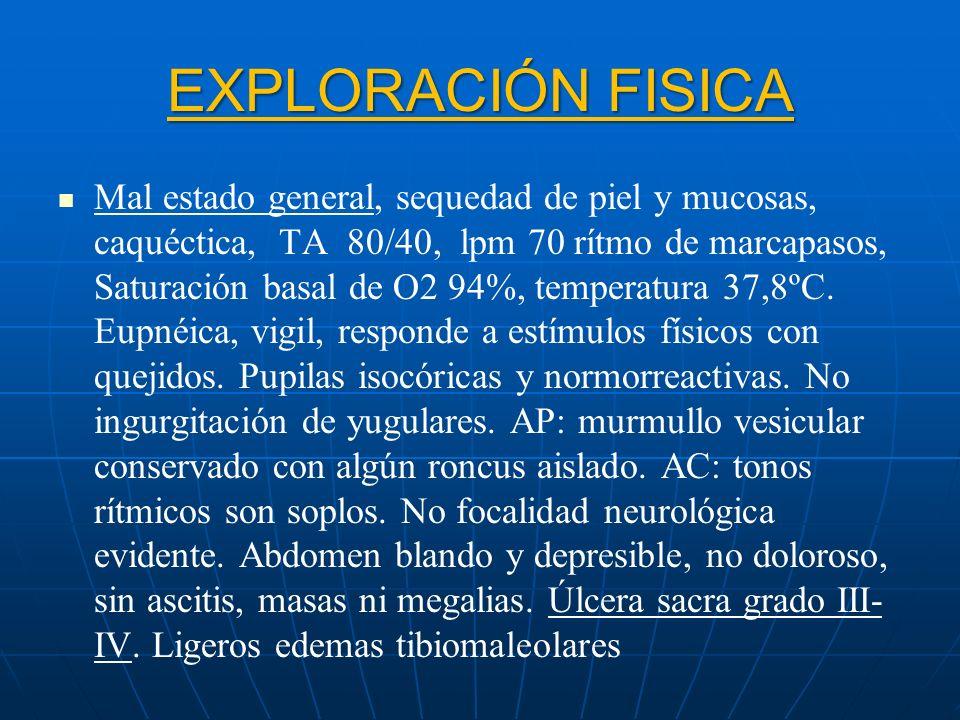 EXPLORACIÓN FISICA Mal estado general, sequedad de piel y mucosas, caquéctica, TA 80/40, lpm 70 rítmo de marcapasos, Saturación basal de O2 94%, tempe
