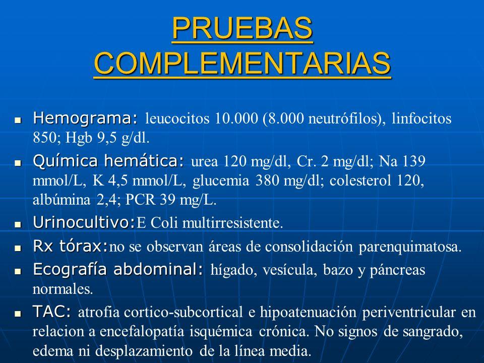 PRUEBAS COMPLEMENTARIAS Hemograma: Hemograma: leucocitos 10.000 (8.000 neutrófilos), linfocitos 850; Hgb 9,5 g/dl. Química hemática: Química hemática:
