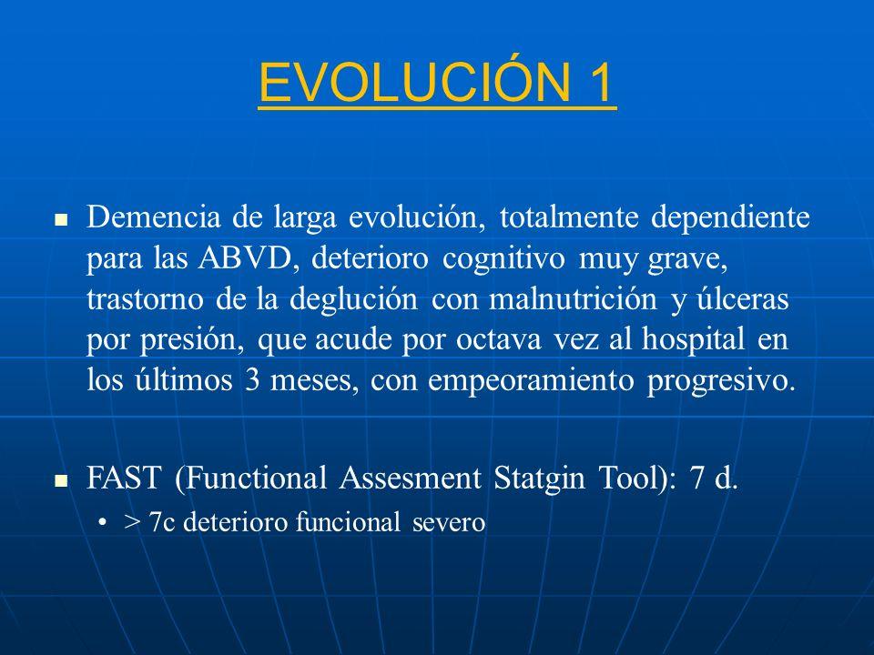 EVOLUCIÓN 1 Demencia de larga evolución, totalmente dependiente para las ABVD, deterioro cognitivo muy grave, trastorno de la deglución con malnutrici