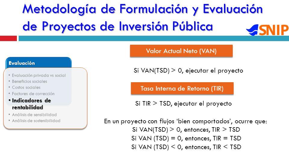 Metodología de Formulación y Evaluación de Proyectos de Inversión Pública Evaluación Evaluación privada vs social Beneficios sociales Costos sociales Factores de corrección Indicadores de rentabilidadIndicadores de rentabilidad Análisis de sensibilidad Análisis de sostenibilidad Valor Actual Neto (VAN) Si VAN(TSD) > 0, ejecutar el proyecto Tasa Interna de Retorno (TIR) Si TIR > TSD, ejecutar el proyecto En un proyecto con flujos bien comportados, ocurre que: Si VAN(TSD) > 0, entonces, TIR > TSD Si VAN (TSD) = 0, entonces, TIR = TSD Si VAN (TSD) < 0, entonces, TIR < TSD