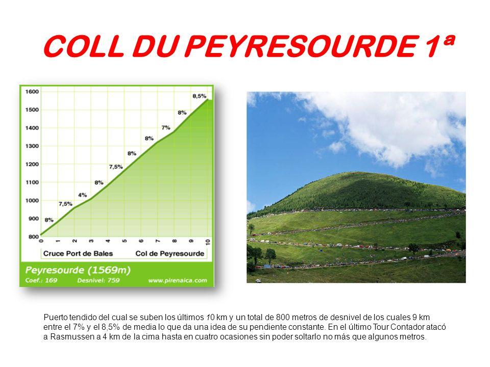 COLL DU PEYRESOURDE 1ª Puerto tendido del cual se suben los últimos 10 km y un total de 800 metros de desnivel de los cuales 9 km entre el 7% y el 8,5
