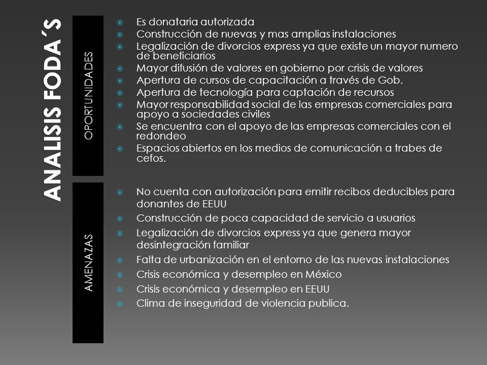 fortalezas debilidades El acta constituida esta protocolizada Cuenta con recibos deducibles.