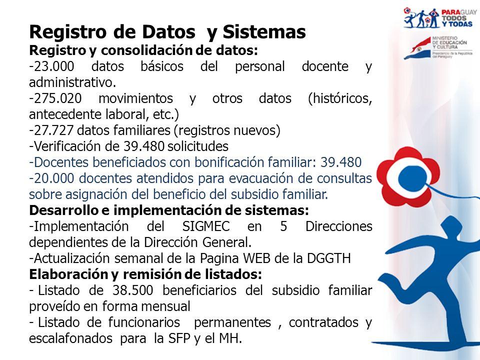 Registro de Datos y Sistemas Registro y consolidación de datos: -23.000 datos básicos del personal docente y administrativo. -275.020 movimientos y ot