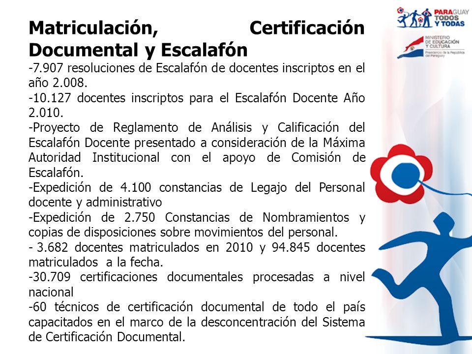 Matriculación, Certificación Documental y Escalafón -7.907 resoluciones de Escalafón de docentes inscriptos en el año 2.008. -10.127 docentes inscript