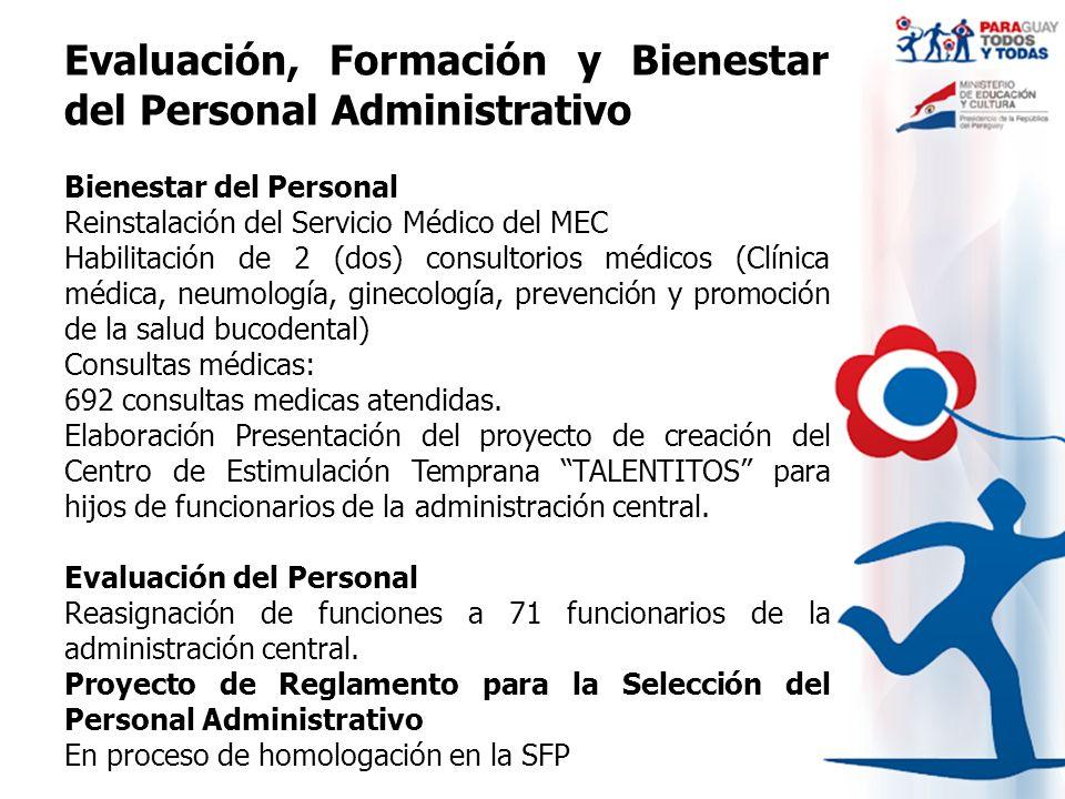 Evaluación, Formación y Bienestar del Personal Administrativo Bienestar del Personal Reinstalación del Servicio Médico del MEC Habilitación de 2 (dos)