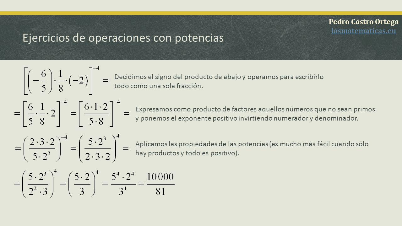 Ejercicios de operaciones con potencias Pedro Castro Ortega lasmatematicas.eu En primer lugar decidimos el signo del numerador (observa que es negativo) y luego el de toda la fracción.