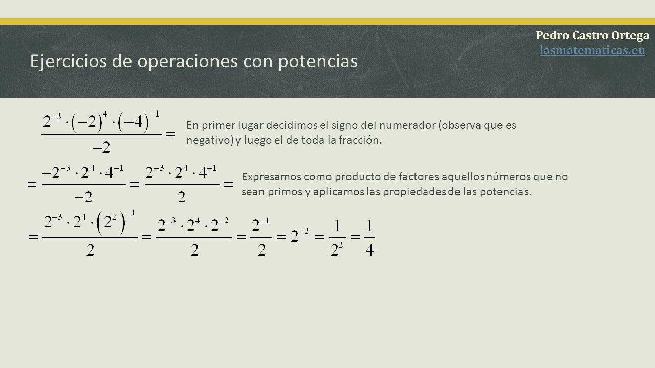 Ejercicios de operaciones con potencias Decidimos el signo del resultado (observa que es negativo) y ponemos los exponentes positivos invirtiendo numerador y denominador.