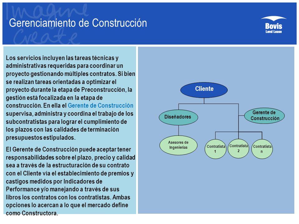 Gerenciamiento de Construcción Los servicios incluyen las tareas técnicas y administrativas requeridas para coordinar un proyecto gestionando múltiple