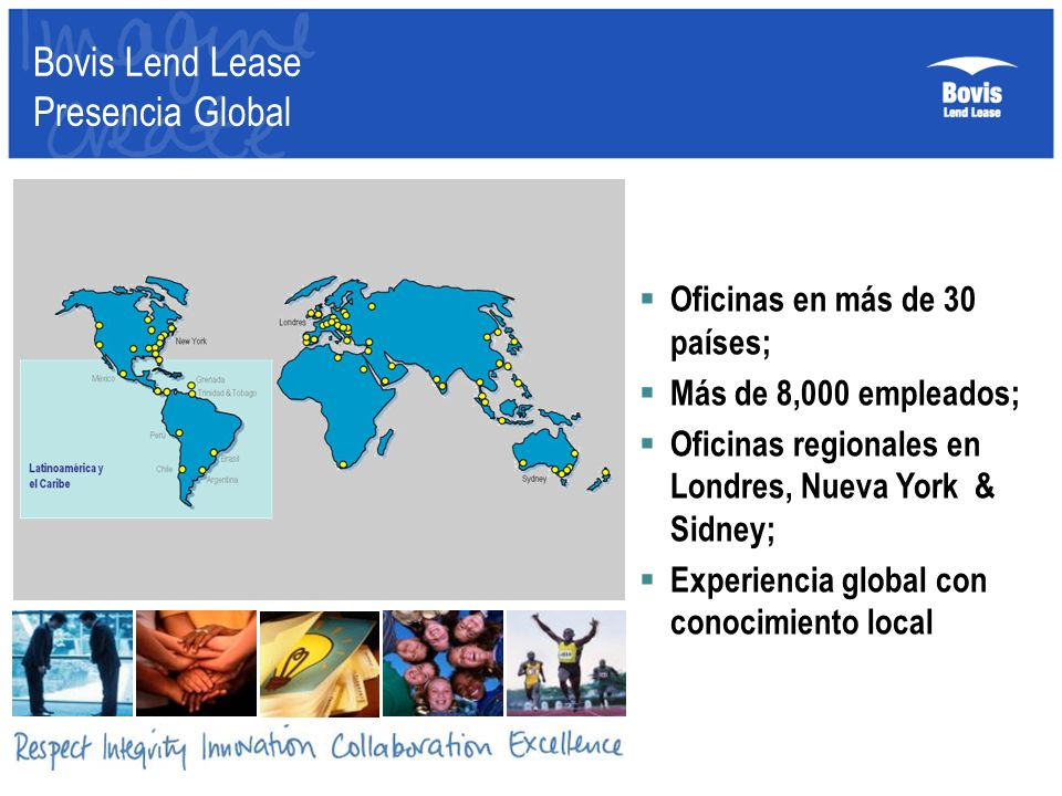 Bovis Lend Lease Presencia Global Oficinas en más de 30 países; Más de 8,000 empleados; Oficinas regionales en Londres, Nueva York & Sidney; Experienc