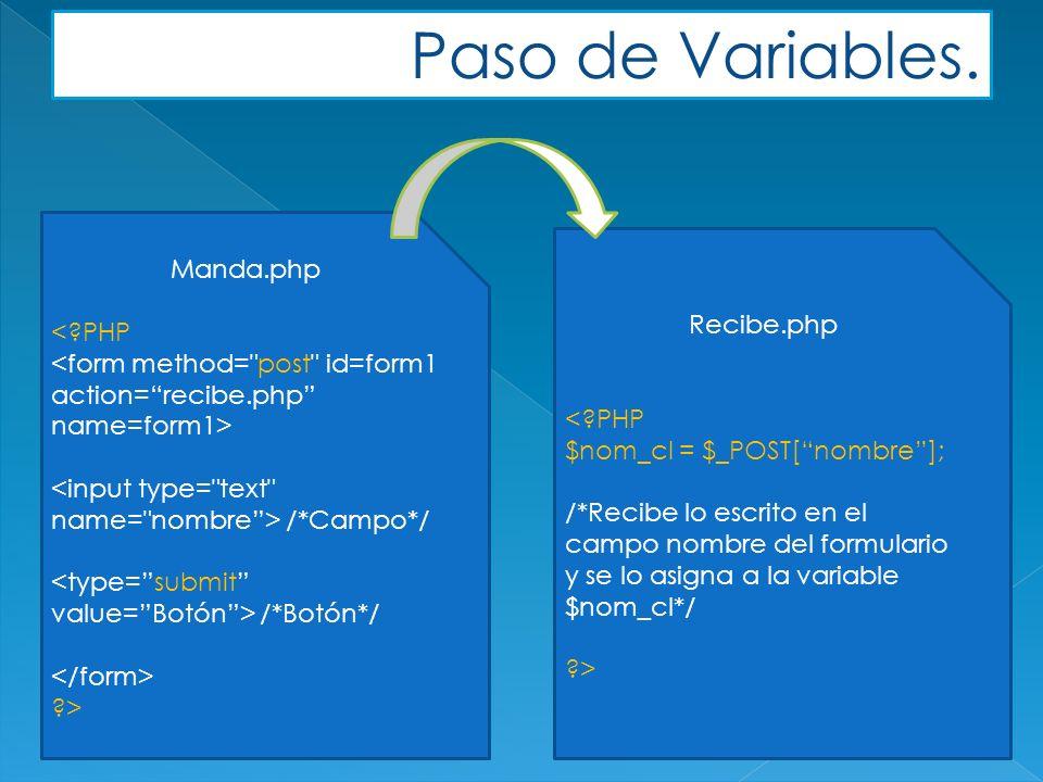 Manda.php < PHP /*Campo*/ /*Botón*/ > Recibe.php < PHP $nom_cl = $_POST[nombre]; /*Recibe lo escrito en el campo nombre del formulario y se lo asigna a la variable $nom_cl*/ > Paso de Variables.