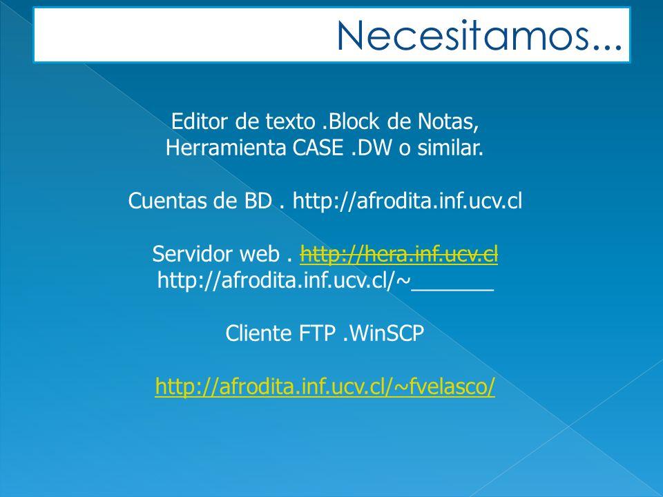 Editor de texto.Block de Notas, Herramienta CASE.DW o similar.