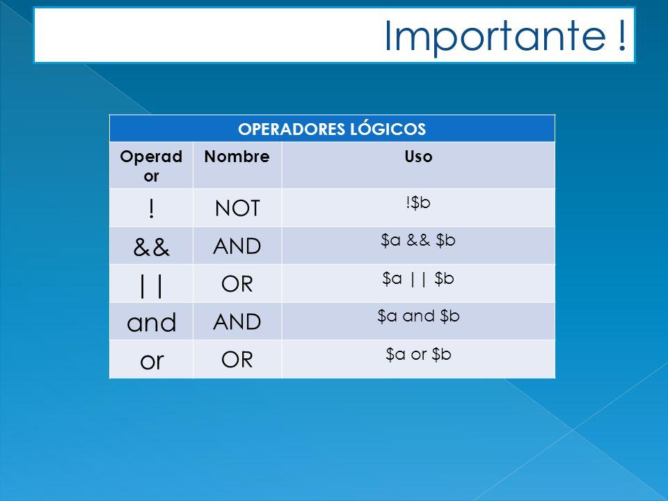 Importante . OPERADORES LÓGICOS Operad or NombreUso .