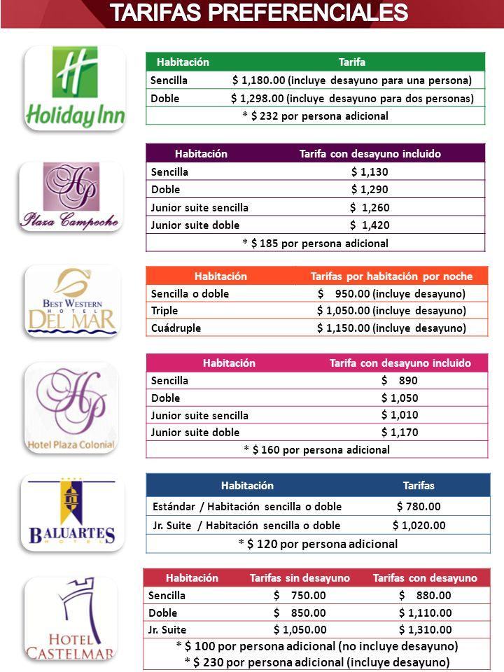HabitaciónTarifa Sencilla$ 1,180.00 (incluye desayuno para una persona) Doble$ 1,298.00 (incluye desayuno para dos personas) * $ 232 por persona adici