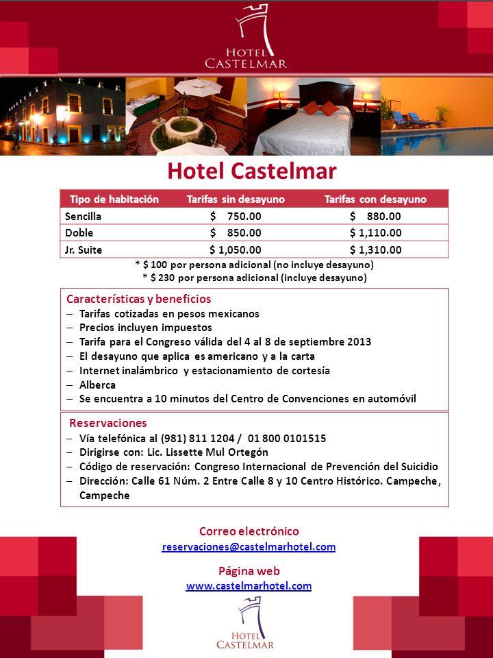 Hotel Castelmar Tipo de habitaciónTarifas sin desayunoTarifas con desayuno Sencilla$ 750.00$ 880.00 Doble$ 850.00$ 1,110.00 Jr. Suite$ 1,050.00$ 1,310