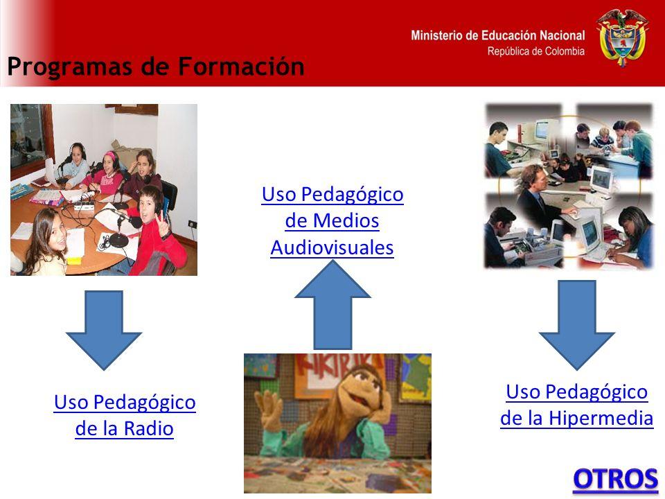 Programas de Formación Uso Pedagógico de la Radio Uso Pedagógico de Medios Audiovisuales Uso Pedagógico de la Hipermedia