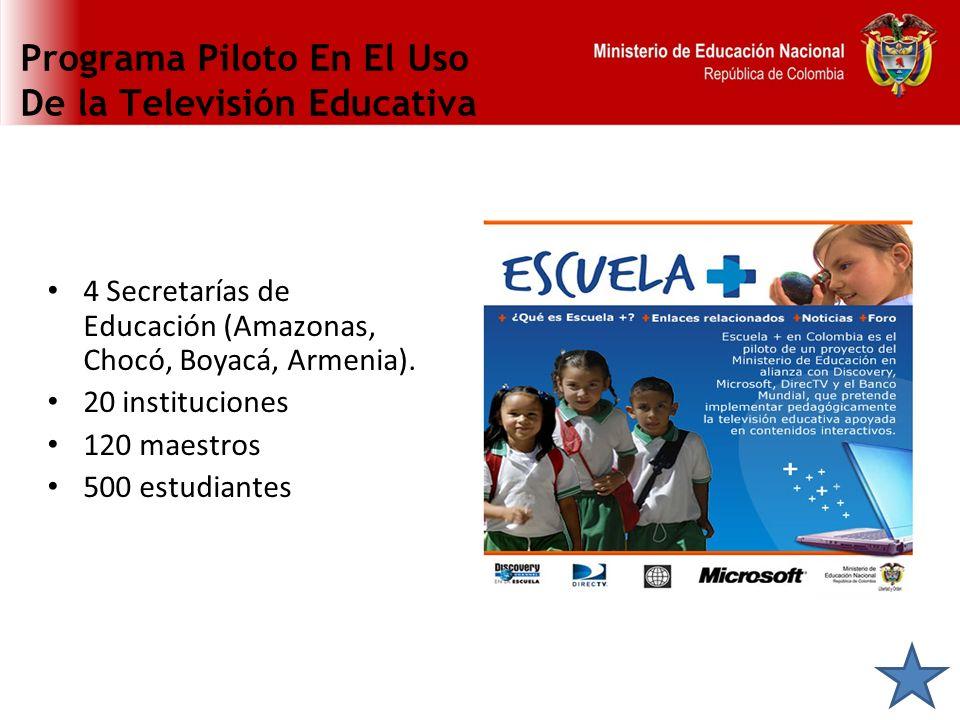 Programa Piloto En El Uso De la Televisión Educativa 4 Secretarías de Educación (Amazonas, Chocó, Boyacá, Armenia). 20 instituciones 120 maestros 500
