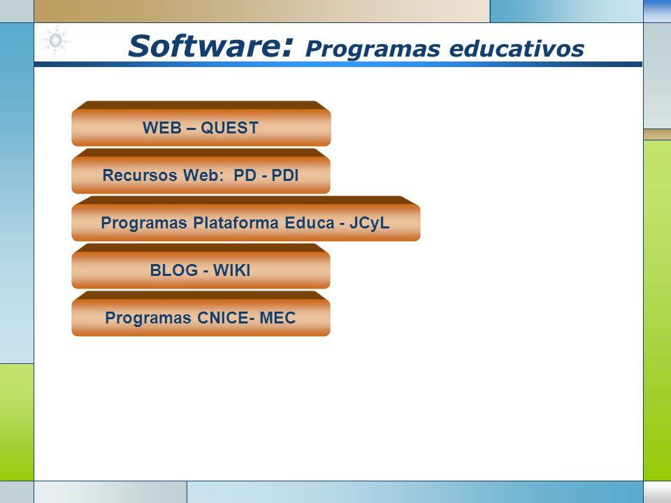 Software : Plataforma Web Aulas virtuales: hemos desarrollado con la Plataforma Moodle un colegio virtual en el que los alumnos entran a sus aulas par