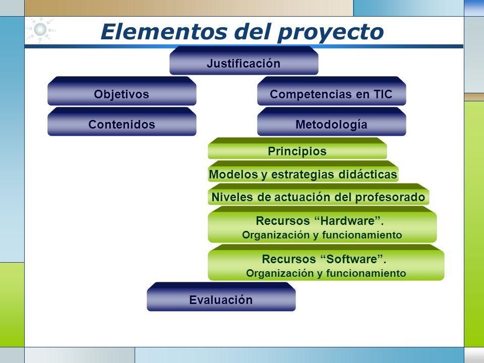 Elementos del proyecto Justificación Objetivos ContenidosMetodología Competencias en TIC Principios Recursos Hardware.