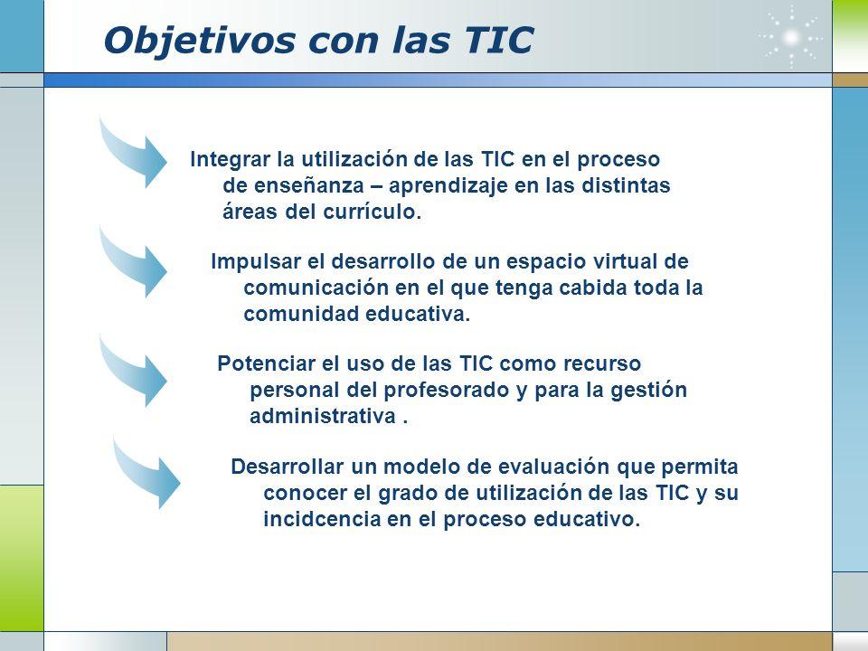 Objetivos con las TIC Integrar la utilización de las TIC en el proceso de enseñanza – aprendizaje en las distintas áreas del currículo.