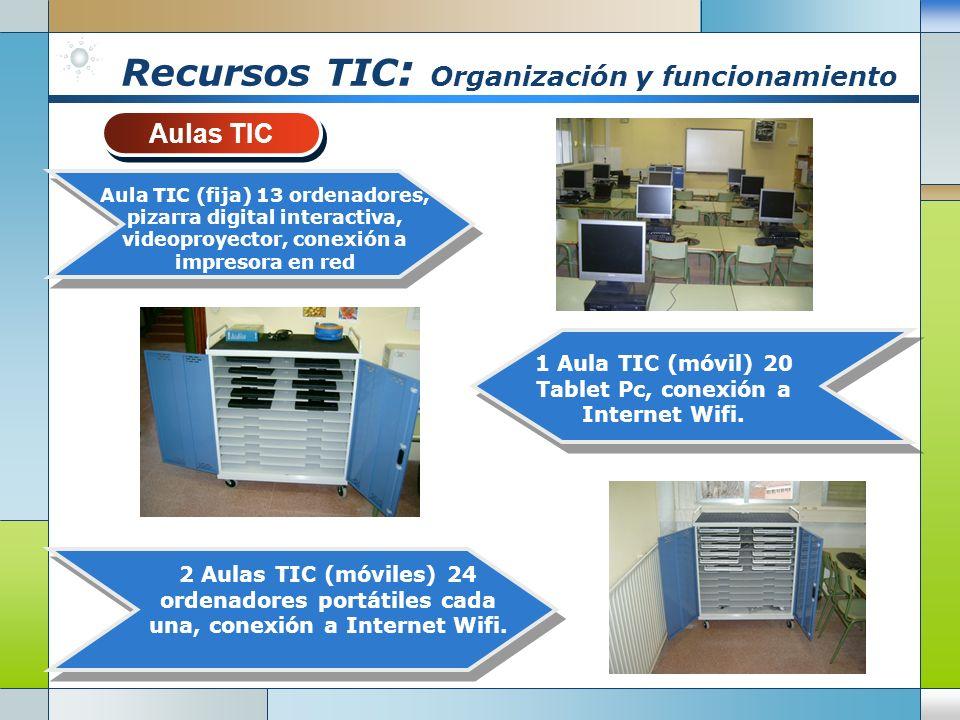 Recursos TIC : Organización y funcionamiento Aulas TIC Aulas TIC 2 Aulas TIC (móviles) 24 ordenadores portátiles cada una, conexión a Internet Wifi.