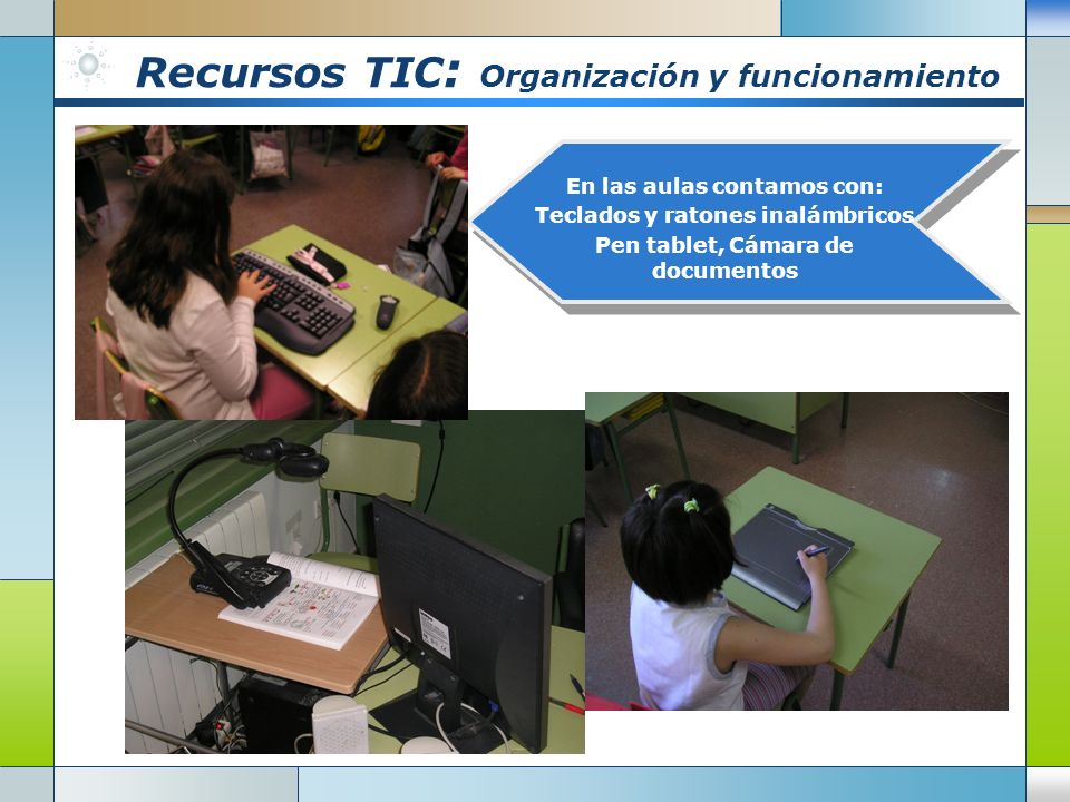 Recursos TIC : Organización y funcionamiento En las aulas contamos con: Teclados y ratones inalámbricos Pen tablet, Cámara de documentos
