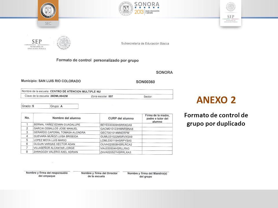 ANEXO 2 Formato de control de grupo por duplicado