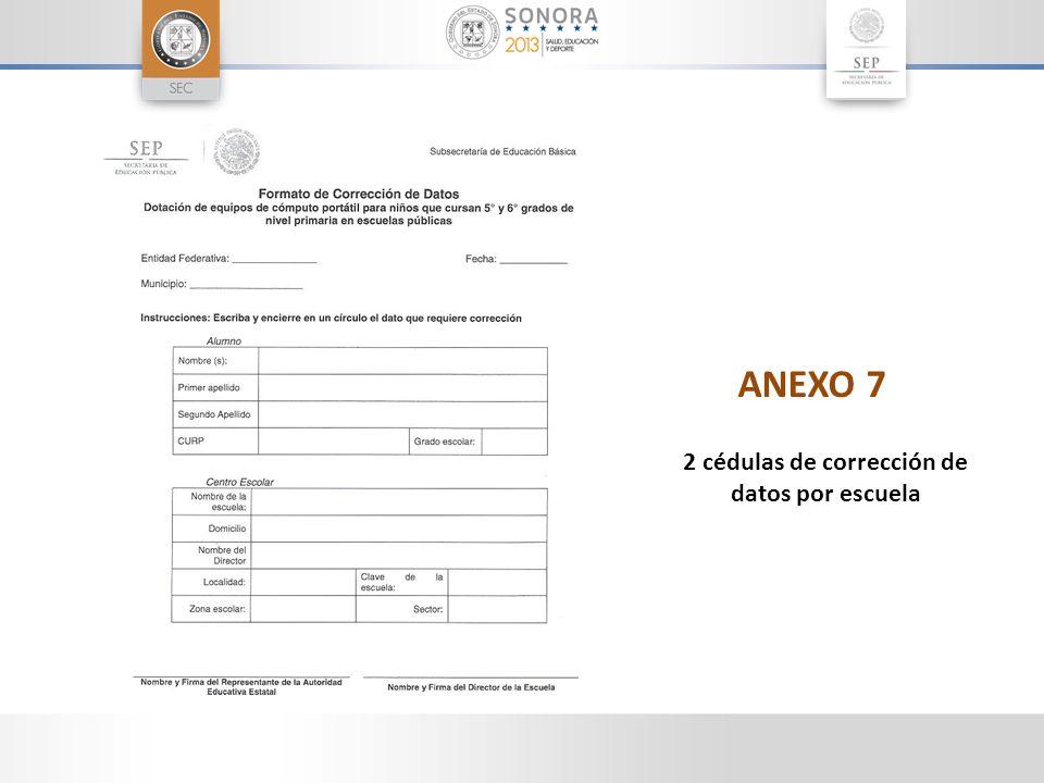 ANEXO 7 2 cédulas de corrección de datos por escuela