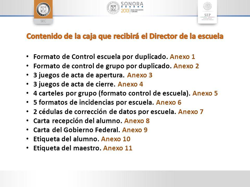Formato de Control escuela por duplicado. Anexo 1 Formato de control de grupo por duplicado. Anexo 2 3 juegos de acta de apertura. Anexo 3 3 juegos de