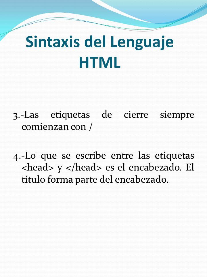 Sintaxis del Lenguaje HTML 3.-Las etiquetas de cierre siempre comienzan con / 4.-Lo que se escribe entre las etiquetas y es el encabezado. El título f