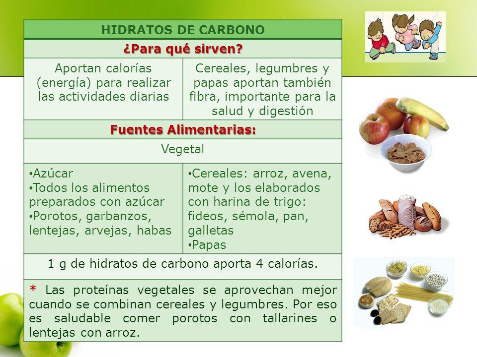 HIDRATOS DE CARBONO ¿Para qué sirven? Aportan calorías (energía) para realizar las actividades diarias Cereales, legumbres y papas aportan también fib