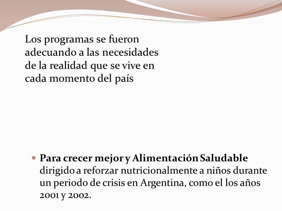 Para crecer mejor y Alimentación Saludable dirigido a reforzar nutricionalmente a niños durante un periodo de crisis en Argentina, como el los años 2001 y 2002.