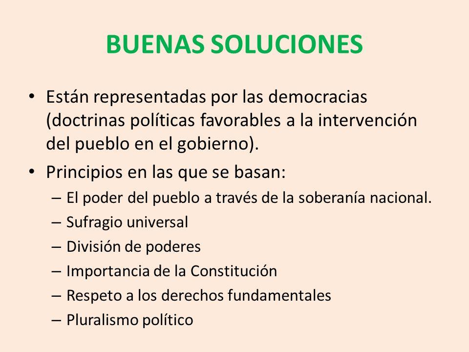BUENAS SOLUCIONES Están representadas por las democracias (doctrinas políticas favorables a la intervención del pueblo en el gobierno). Principios en
