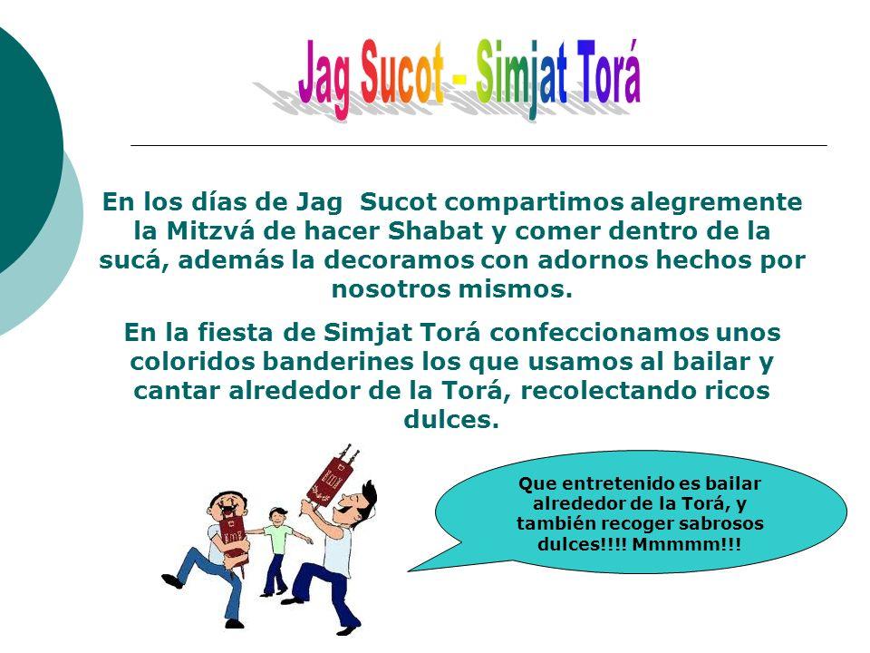 En los días de Jag Sucot compartimos alegremente la Mitzvá de hacer Shabat y comer dentro de la sucá, además la decoramos con adornos hechos por nosot