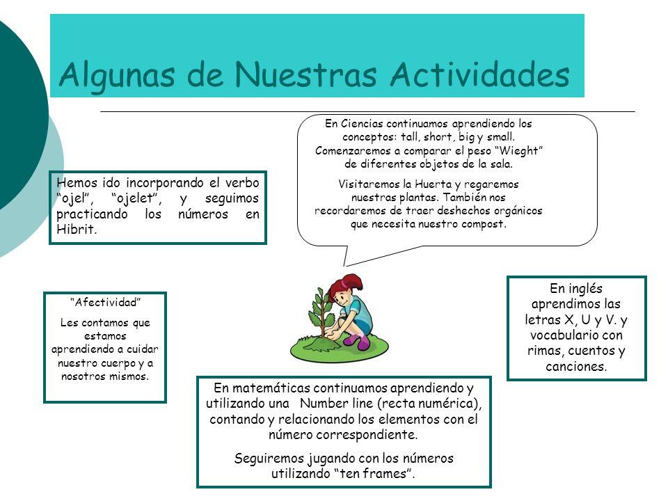 En inglés aprendimos las letras X, U y V. y vocabulario con rimas, cuentos y canciones. En matemáticas continuamos aprendiendo y utilizando una Number