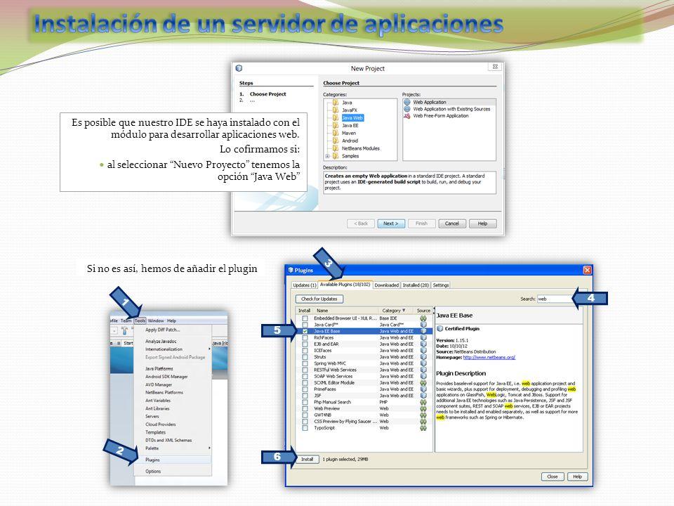 Es posible que nuestro IDE se haya instalado con el módulo para desarrollar aplicaciones web.