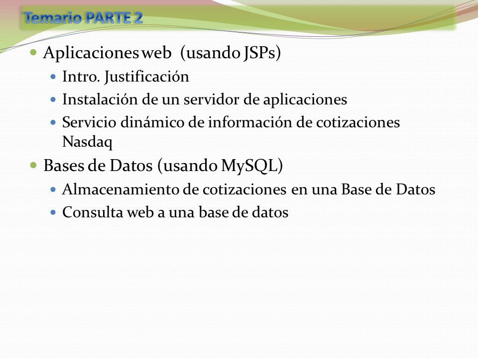 Aplicaciones web (usando JSPs) Intro. Justificación Instalación de un servidor de aplicaciones Servicio dinámico de información de cotizaciones Nasdaq