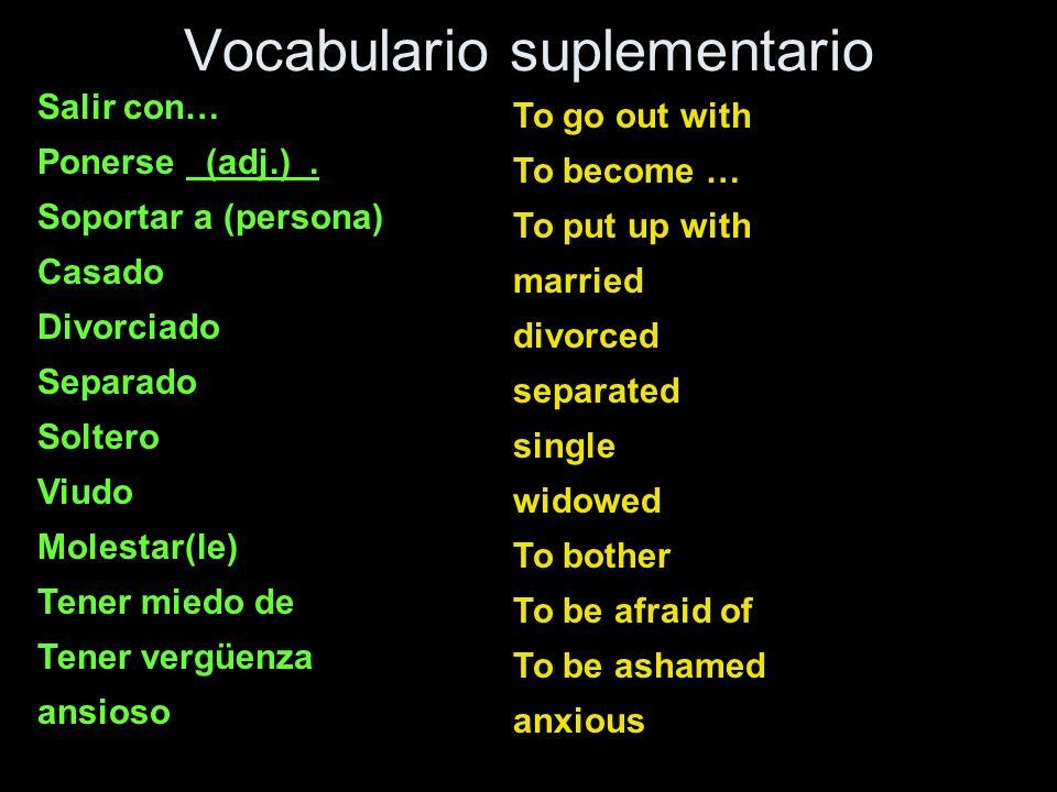 Vocabulario suplementario Salir con… Ponerse (adj.). Soportar a (persona) Casado Divorciado Separado Soltero Viudo Molestar(le) Tener miedo de Tener v
