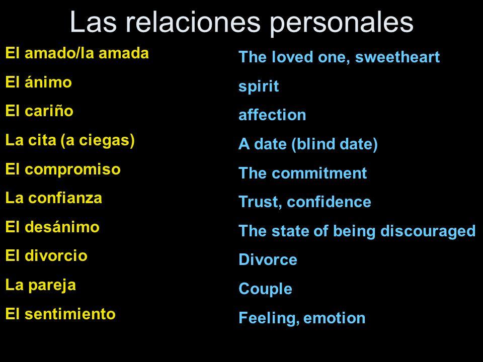 la tarea repase – el vocabulario para relaciones personales haga - en el libro de texto – ejercicio 3 (Definiciones) 1-6