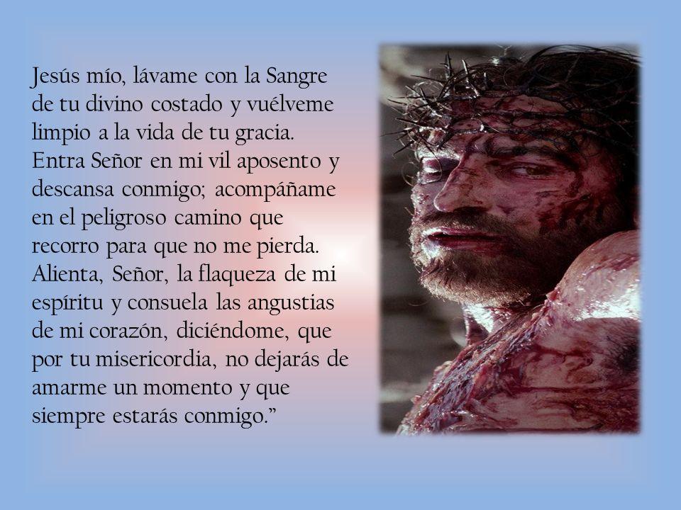 Jesús mío, lávame con la Sangre de tu divino costado y vuélveme limpio a la vida de tu gracia.