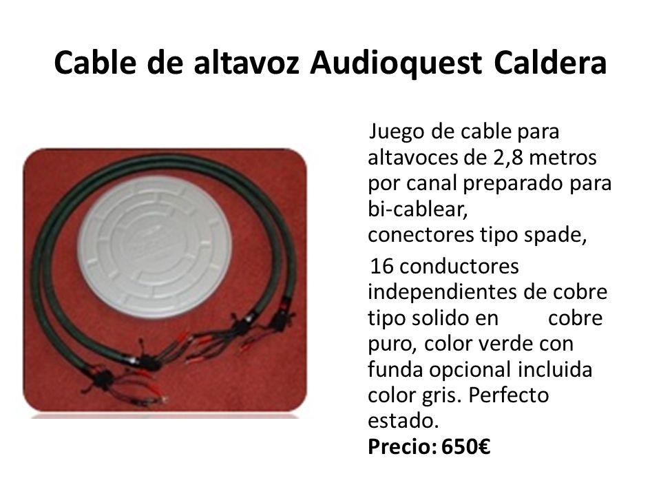Cable de altavoz Audioquest Caldera Juego de cable para altavoces de 2,8 metros por canal preparado para bi-cablear, conectores tipo spade, 16 conductores independientes de cobre tipo solido en cobre puro, color verde con funda opcional incluida color gris.