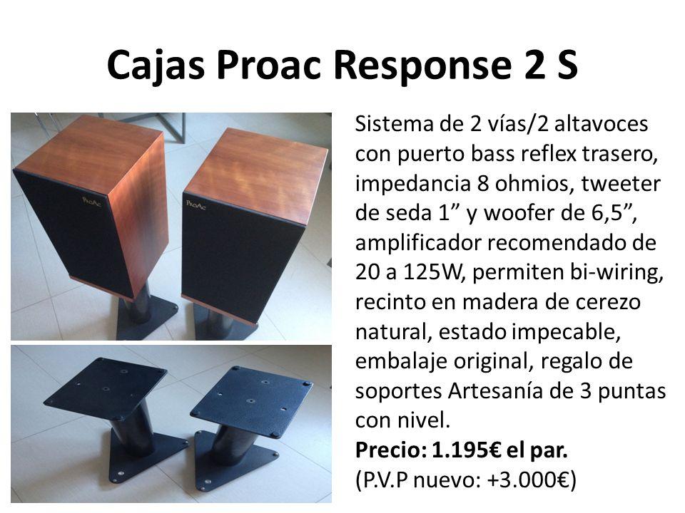 Cajas Proac Response 2 S Sistema de 2 vías/2 altavoces con puerto bass reflex trasero, impedancia 8 ohmios, tweeter de seda 1 y woofer de 6,5, amplificador recomendado de 20 a 125W, permiten bi-wiring, recinto en madera de cerezo natural, estado impecable, embalaje original, regalo de soportes Artesanía de 3 puntas con nivel.