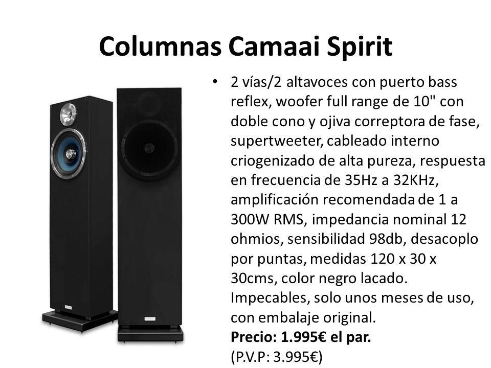 Columnas Camaai Spirit 2 vías/2 altavoces con puerto bass reflex, woofer full range de 10 con doble cono y ojiva correptora de fase, supertweeter, cableado interno criogenizado de alta pureza, respuesta en frecuencia de 35Hz a 32KHz, amplificación recomendada de 1 a 300W RMS, impedancia nominal 12 ohmios, sensibilidad 98db, desacoplo por puntas, medidas 120 x 30 x 30cms, color negro lacado.