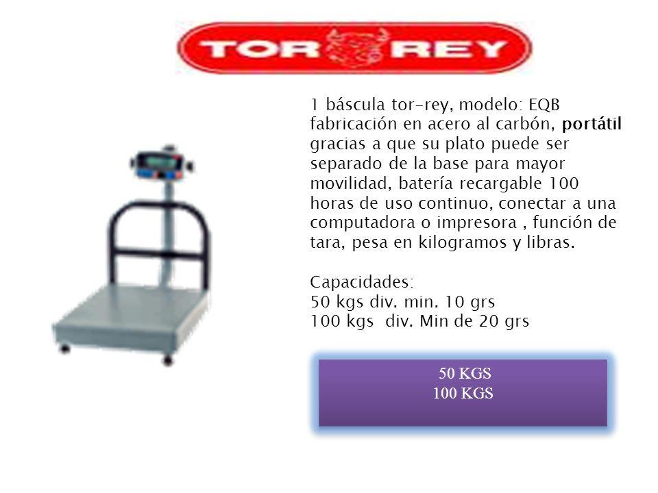 1 báscula de recibo móvil modelo: EQM Tecla de tara, módulo indicador con iluminación, pesa en kilogramos o libras Batería recargable de hasta 100 horas de uso continuas aprox.