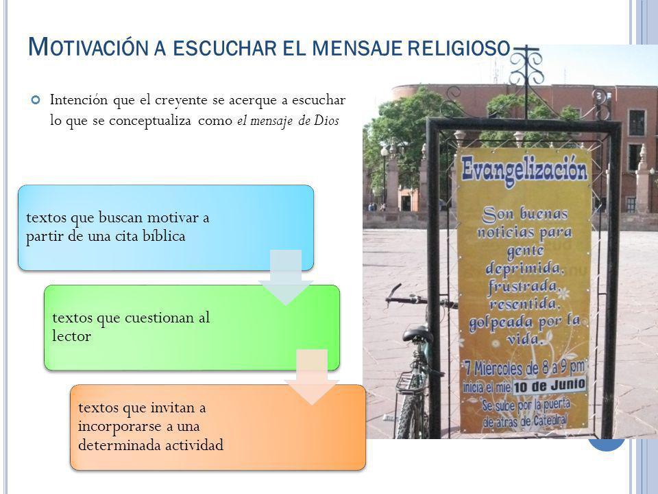M OTIVACIÓN A ESCUCHAR EL MENSAJE RELIGIOSO Intención que el creyente se acerque a escuchar lo que se conceptualiza como el mensaje de Dios textos que