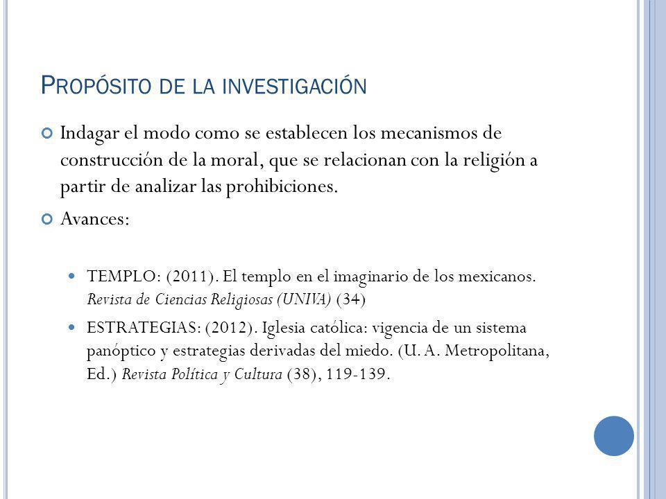 P ROPÓSITO DE LA INVESTIGACIÓN Indagar el modo como se establecen los mecanismos de construcción de la moral, que se relacionan con la religión a part