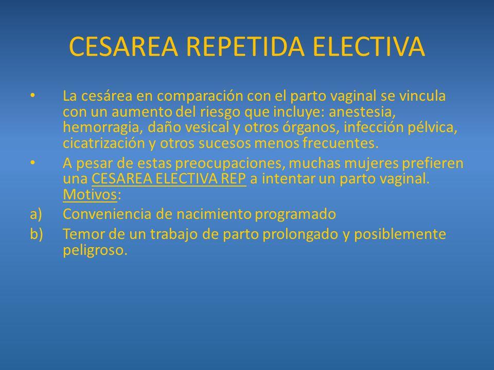 CESAREA REPETIDA ELECTIVA La cesárea en comparación con el parto vaginal se vincula con un aumento del riesgo que incluye: anestesia, hemorragia, daño