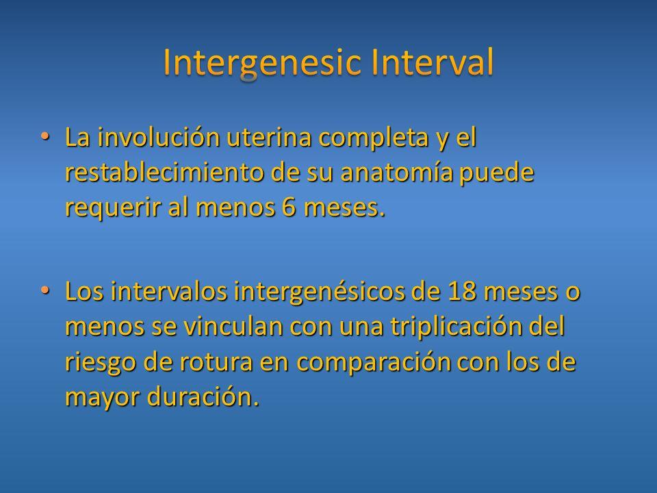 La involución uterina completa y el restablecimiento de su anatomía puede requerir al menos 6 meses. La involución uterina completa y el restablecimie