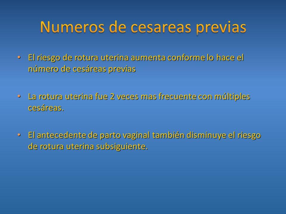 El riesgo de rotura uterina aumenta conforme lo hace el número de cesáreas previas El riesgo de rotura uterina aumenta conforme lo hace el número de c